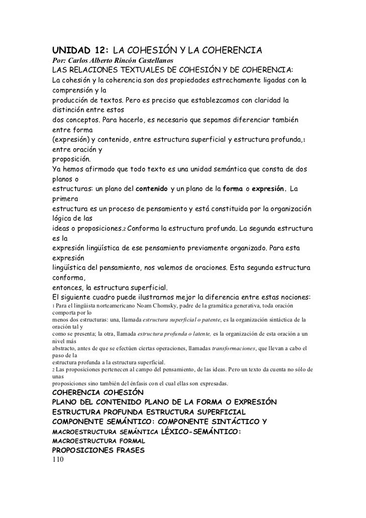 UNIDAD 12: LA COHESIÓN Y LA COHERENCIAPor: Carlos Alberto Rincón CastellanosLAS RELACIONES TEXTUALES DE COHESIÓN Y DE COHE...