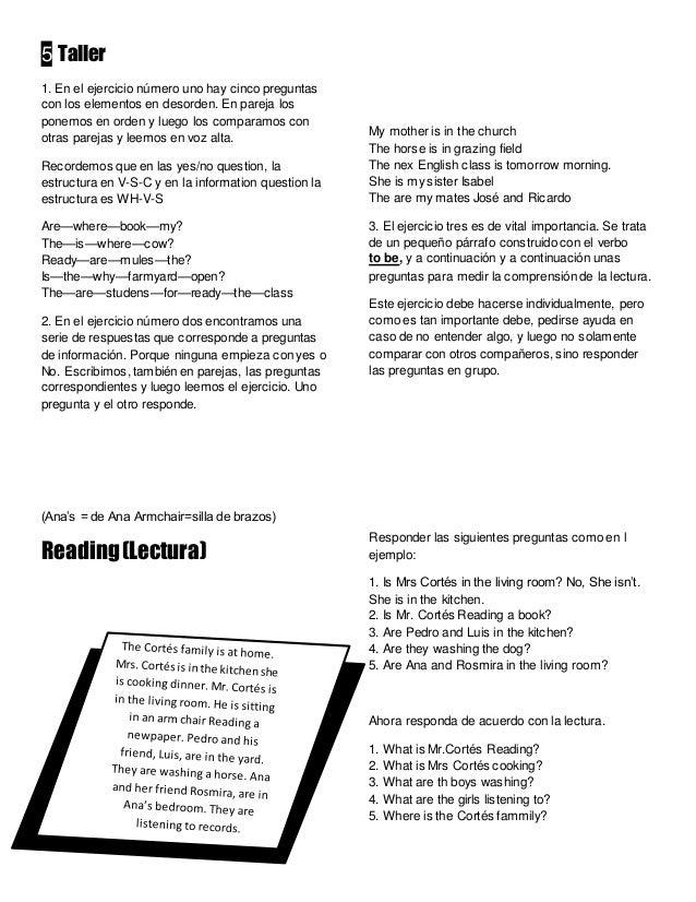 Taller de lectura en ingles como se escribe