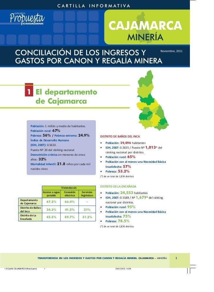1 El departamento       de Cajamarca         Población: 1 millón y medio de habitantes.         Población rural: 67%      ...