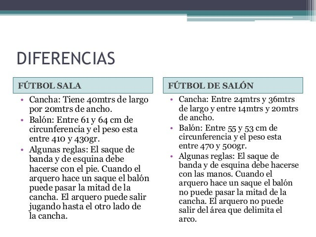 Image Result For Futbol Sala Y Salon Diferencia