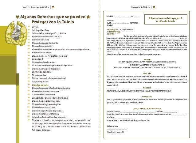 Lo que el Ciudadano debe Saber Personería de Medellín Algunos Derechos que se pueden Proteger con la Tutela * Lavida * Lai...