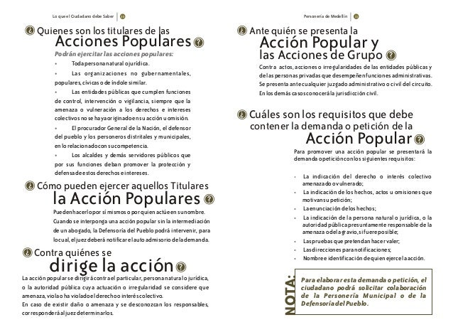 Lo que el Ciudadano debe Saber Personería de Medellín Quienes son los titulares de las Acciones Populares ? ? Podránejerci...