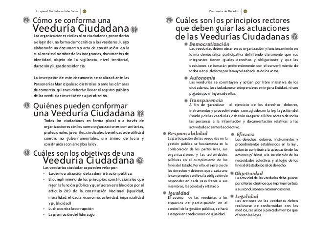 Lo que el Ciudadano debe Saber Personería de Medellín Cómo se conforma una Veeduría CiudadanaLasorganizacionescivilesolosc...