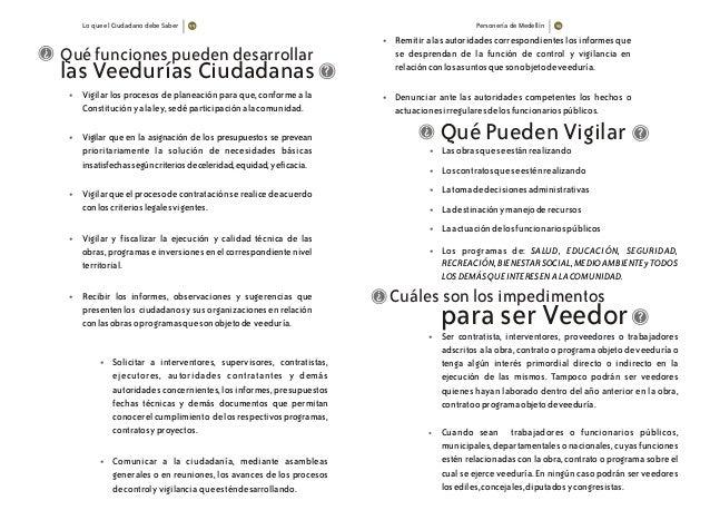 Lo que el Ciudadano debe Saber Personería de Medellín Qué funciones pueden desarrollar las Veedurías Ciudadanas • • • • • ...