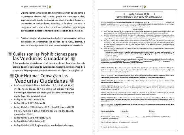 Lo que el Ciudadano debe Saber Personería de Medellín • • Quienes estén vinculados por matrimonio, unión permanente o pare...