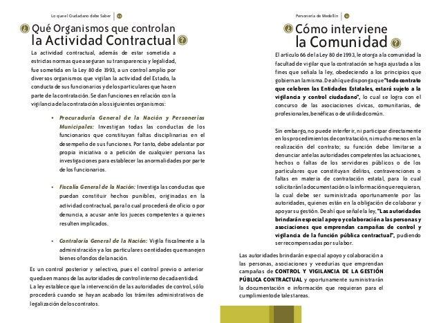 Lo que el Ciudadano debe Saber Personería de Medellín Qué Organismos que controlan ? ? La actividad contractual, además de...