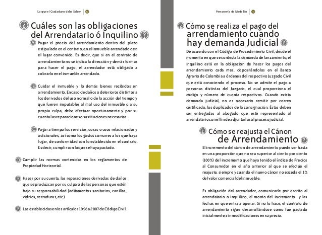Lo que el Ciudadano debe Saber Personería de Medellín 7372 ? ? Pagar el precio del arrendamiento dentro del plazo estipula...