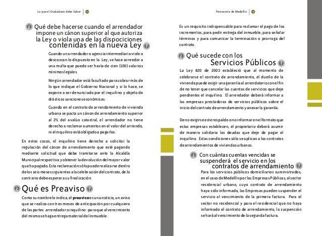 Lo que el Ciudadano debe Saber Personería de Medellín 7574 Cuandounarrendadoroagenciaintermediariavioleo descozcan lo disp...