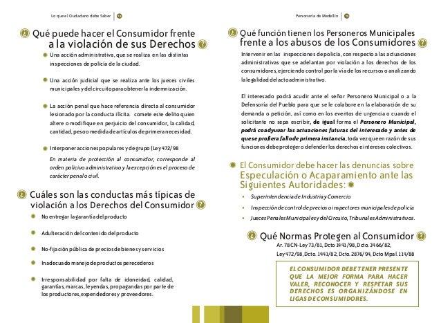 Lo que el Ciudadano debe Saber Personería de Medellín Qué puede hacer el Consumidor frente ? a la violación de sus Derecho...