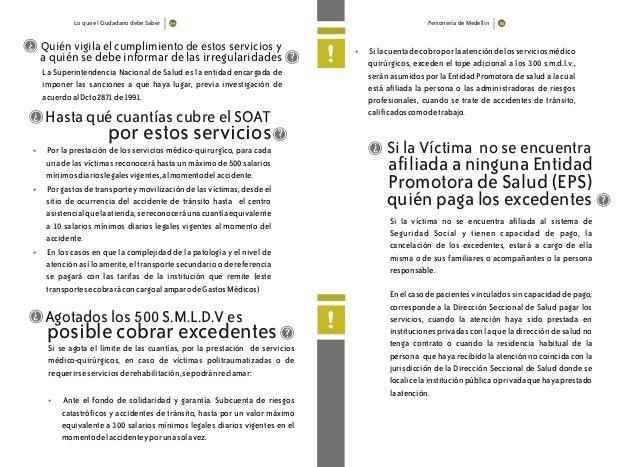 Lo que el Ciudadano debe Saber Personería de Medellín Hasta qué cuantías cubre el SOAT ? por estos servicios ? • • • Por l...