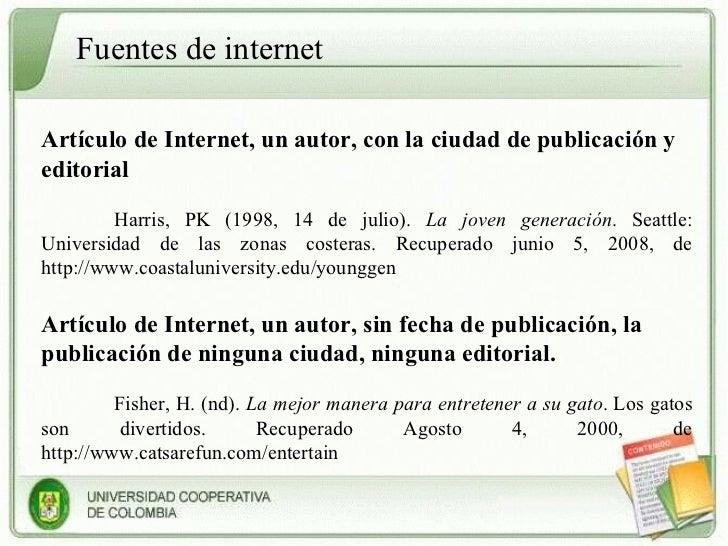 Como Hacer Referencias Bibliograficas Apa De Internet Cita