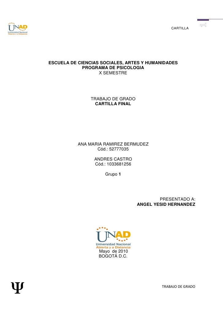 CARTILLA     ESCUELA DE CIENCIAS SOCIALES, ARTES Y HUMANIDADES              PROGRAMA DE PSICOLOGIA                    X SE...