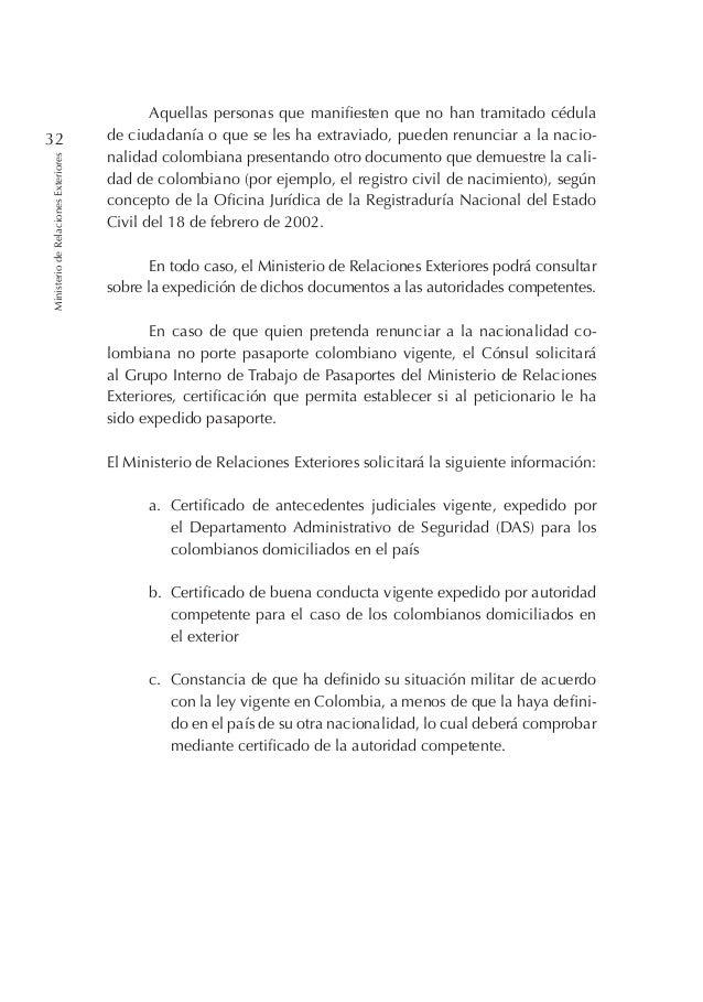 Cartilla sobre la Nacionalidad Colombiana