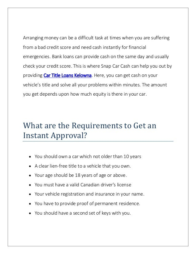 Car Title Loans Kelowna for Fast And Instant Cash Slide 2