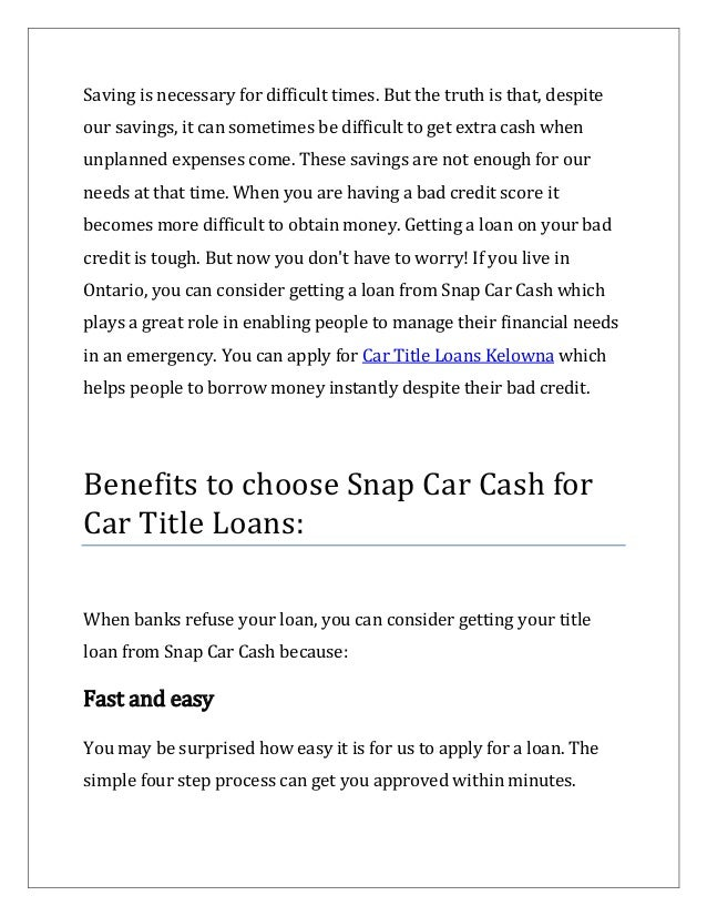 Car Title Loans Kelowna a hassle-free way to get instant cash Slide 2