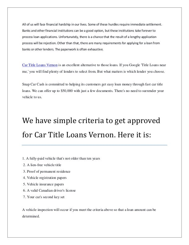 Car Title Loans Vernon that Offer Reliable Service Slide 2