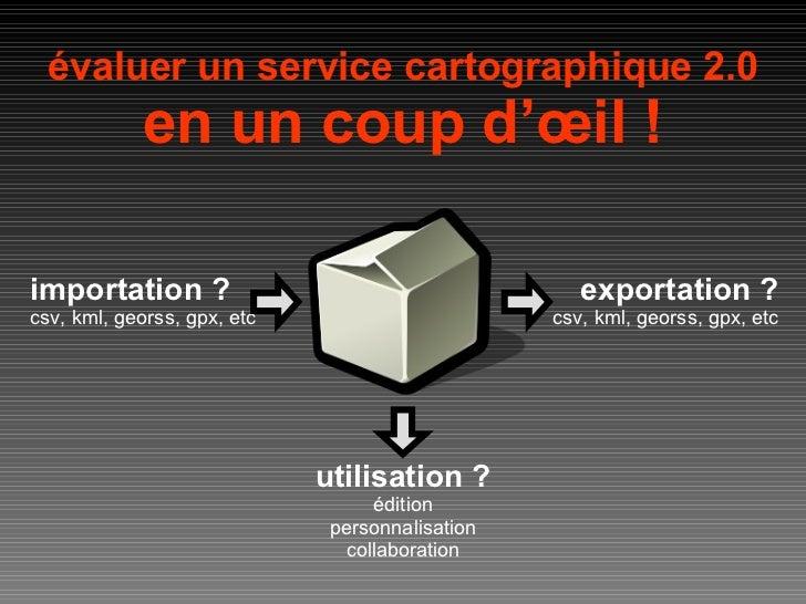 évaluer un service cartographique 2.0 en un coup d'œil ! importation ? csv, kml, georss, gpx, etc exportation ? csv, kml, ...