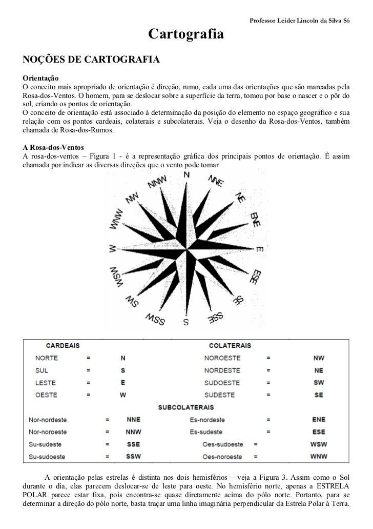 Professor Leider Lincoln da Silva Só                                         CartografiaNOÇÕES DE CARTOGRAFIAOrientaçãoO c...