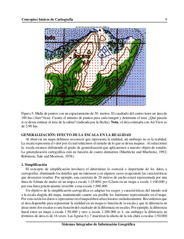 Conceptos básicos de Cartografía 9 Sistemas Integrados de Información Geográfica Figura 5: Malla de puntos con un espaciam...
