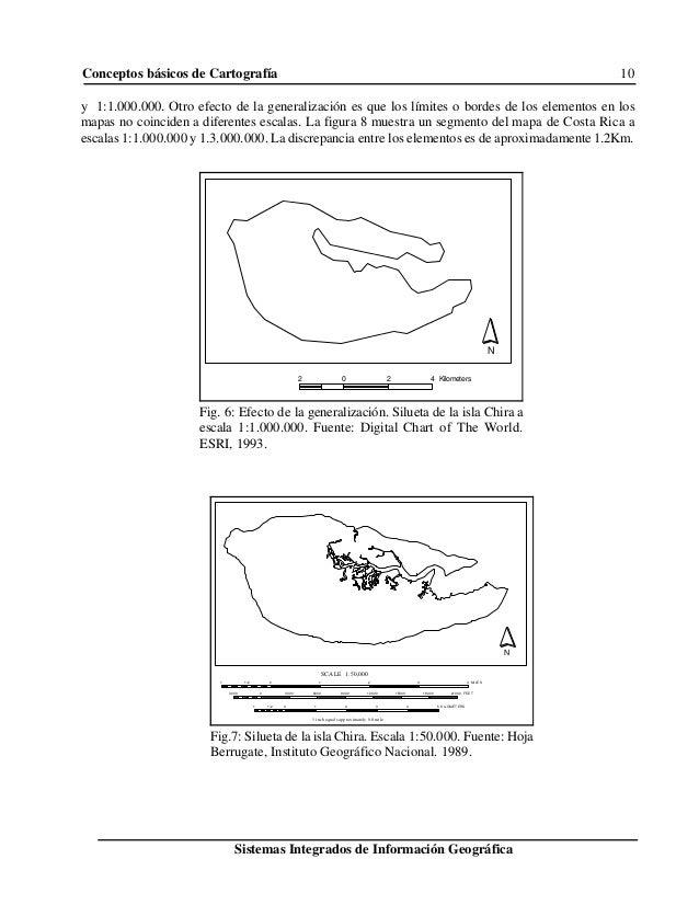 Conceptos básicos de Cartografía 10 Sistemas Integrados de Información Geográfica N 2 0 2 4 Kilometers Fig. 6: Efecto de l...