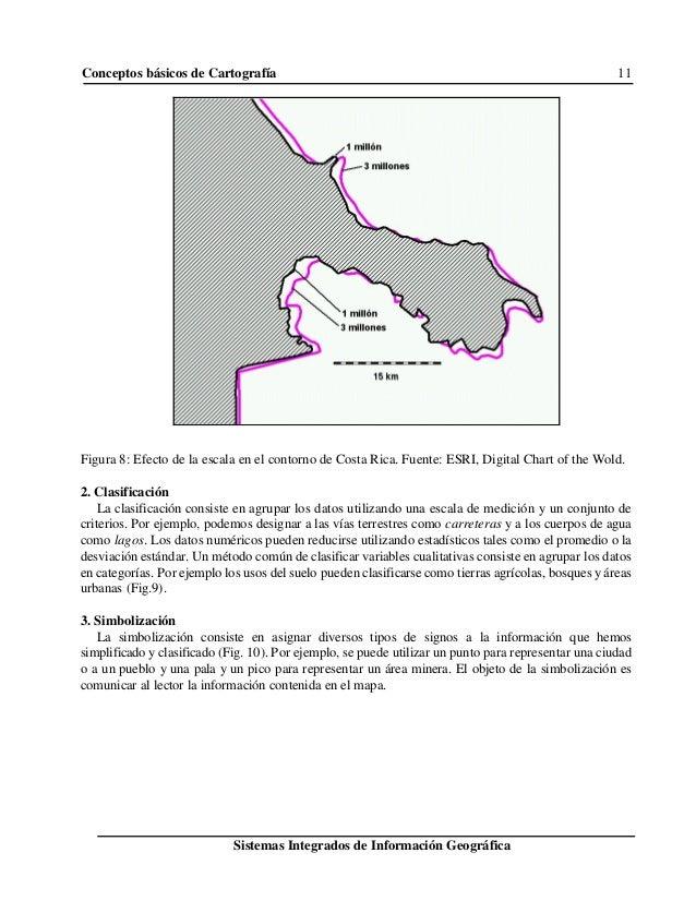 Conceptos básicos de Cartografía 11 Sistemas Integrados de Información Geográfica Figura 8: Efecto de la escala en el cont...