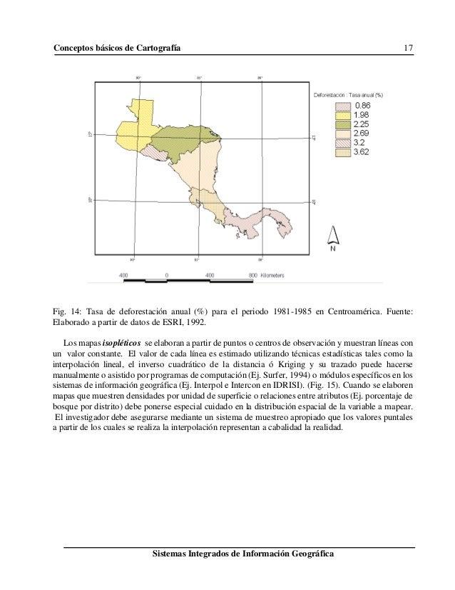 Conceptos básicos de Cartografía 17 Sistemas Integrados de Información Geográfica Fig. 14: Tasa de deforestación anual (%)...