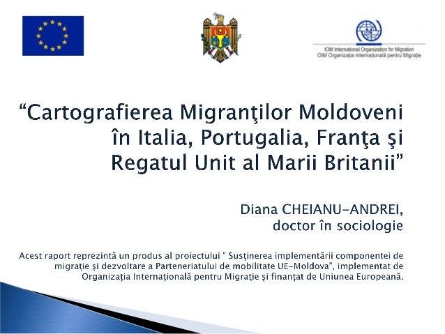 cunoaşterea profilului socio-economic alcetăţenilor Republicii Moldova stabiliţitemporar sau permanent peste hotarele ţări...