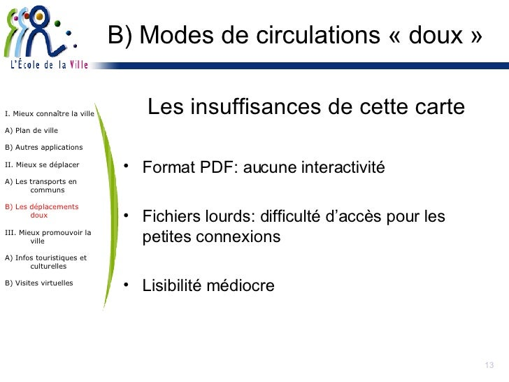 B) Modes de circulations « doux » <ul><li>Les insuffisances de cette carte </li></ul><ul><li>Format PDF: aucune interactiv...