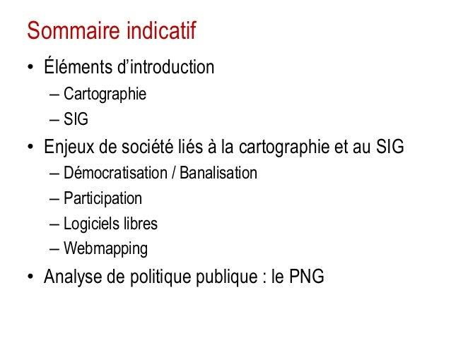 Sommaire indicatif • Éléments d'introduction – Cartographie – SIG  • Enjeux de société liés à la cartographie et au SIG – ...