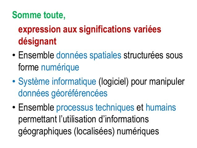 Quelle que soit l'appellation… • Les SIG ont pour vocation la production et l'exploitation d'informations géographiques pe...