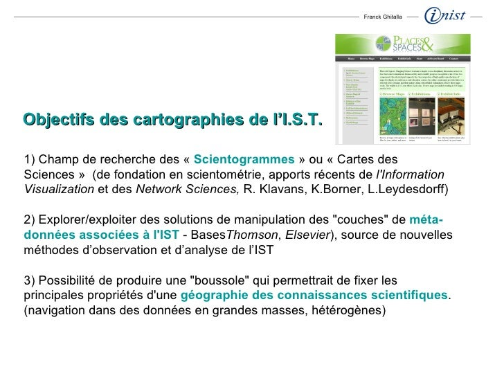1) Champ de recherche des « Scientogrammes » ou «Cartes des Sciences» (de fondation en scientométrie, apports récents...