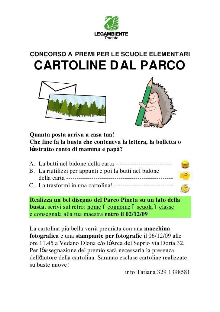 CONCORSO A PREMI PER LE SCUOLE ELEMENTARI  CARTOLINE D AL PARCOQuanta posta arriva a casa tua!Che fine fa la busta che con...