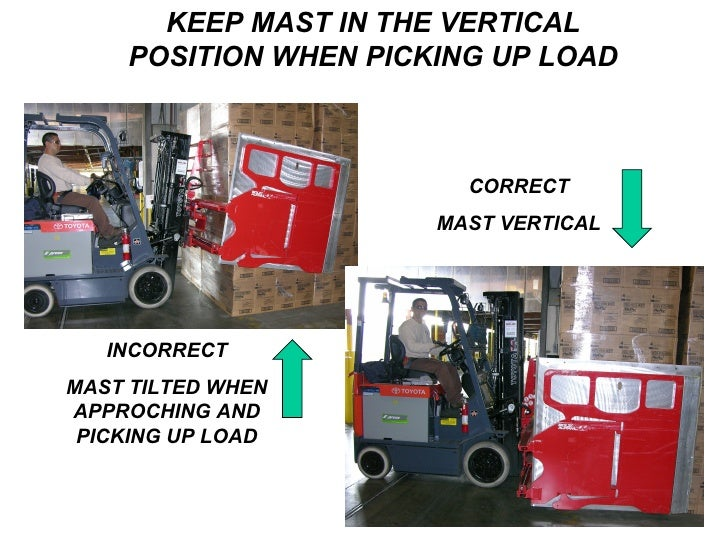 KEEP MAST IN THE VERTICAL POSITION WHEN PICKING UP LOAD INCORRECT MAST TILTED WHEN APPROCHING AND PICKING UP LOAD CORRECT ...