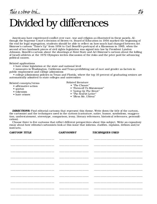 Cartoon handbook – Satire Worksheet