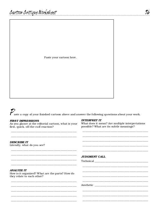 Cartoon handbook – Art Critique Worksheet