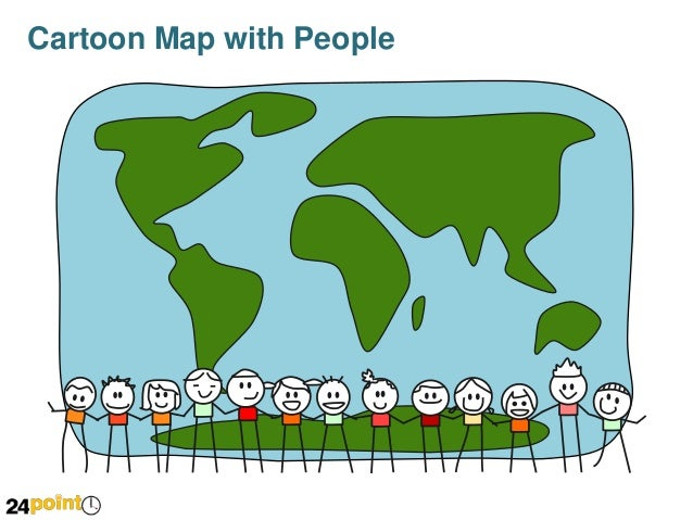 Cartoon World Map with People - PowerPoint Slides