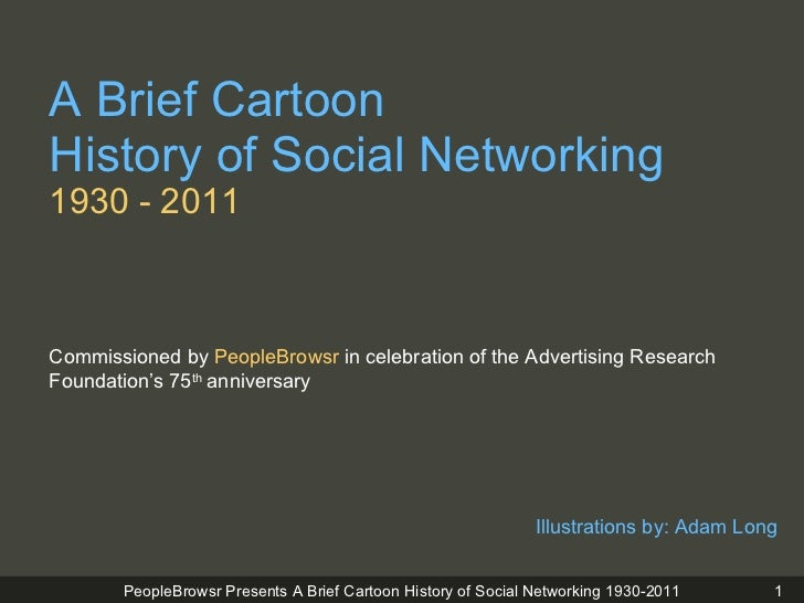 A Brief Cartoon  History of Social Networking 1930 - 2011 <ul><li>Illustrations by: Adam Long  </li></ul>Commissioned by  ...