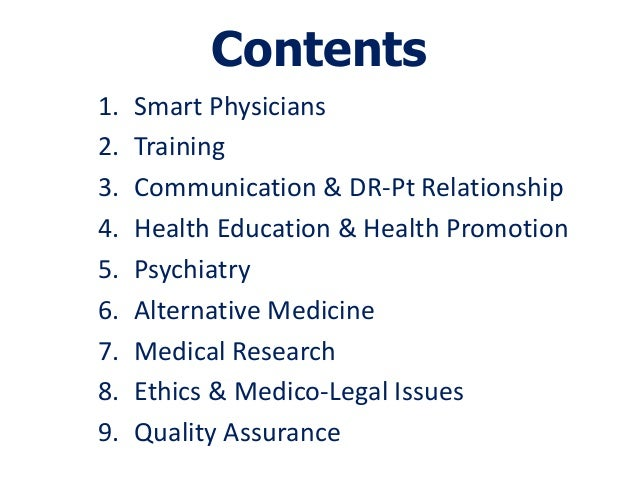 Contents1.   Smart Physicians2.   Training3.   Communication & DR-Pt Relationship4.   Health Education & Health Promotion5...