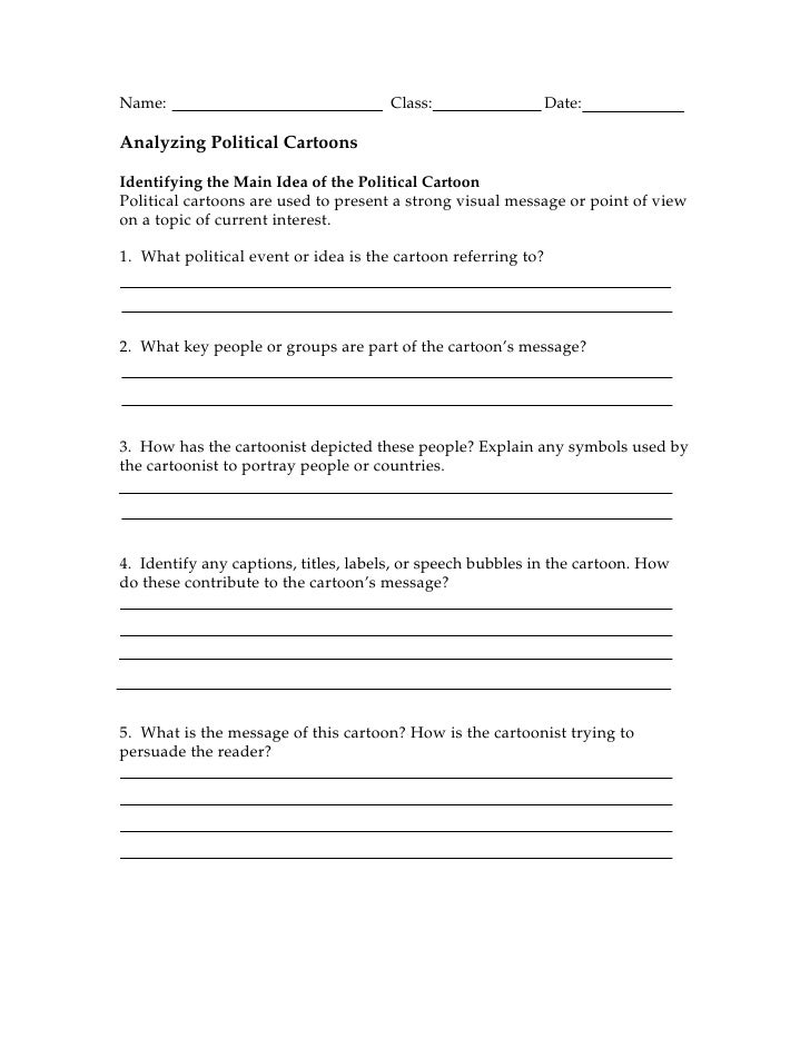 Analyzing Political Cartoons Worksheet : Cartoon worksheet short answers