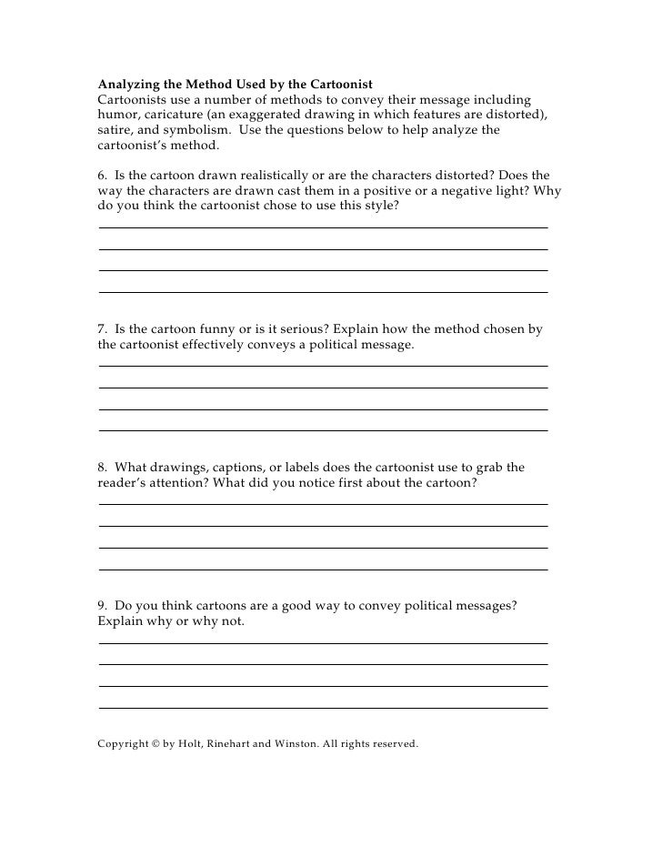 Cartoon worksheet short answers – Political Cartoon Analysis Worksheet