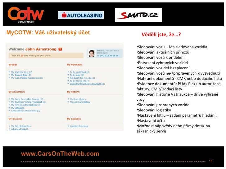 MyCOTW: Váš uživatelský účet     Věděli jste, že…?                               •Sledování vozu – Má sledovaná vozidla   ...