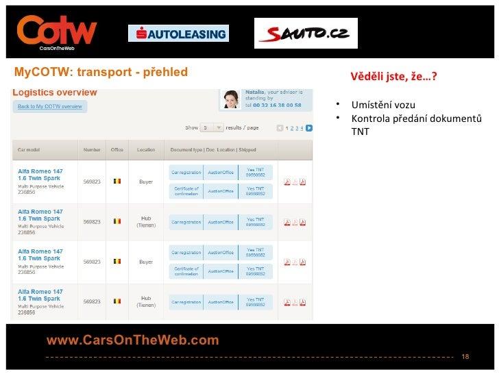MyCOTW: transport - přehled       Věděli jste, že…?                              •   Umístění vozu                        ...