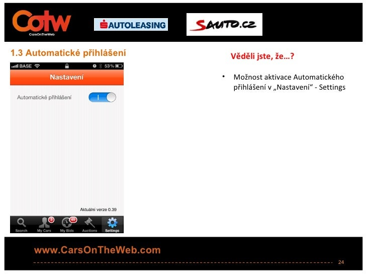 1.3 Automatické přihlášení       Věděli jste, že…?                             •   Možnost aktivace Automatického         ...