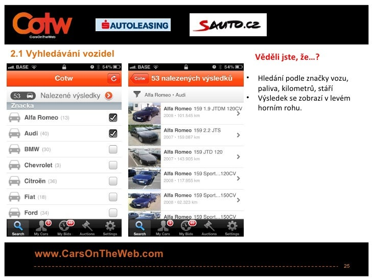 2.1 Vyhledávání vozidel         Věděli jste, že…?                            •   Hledání podle značky vozu,               ...