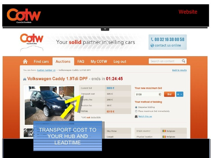 WebsiteTRANSPORT COST TO  YOUR HUB AND    LEADTIME                          60