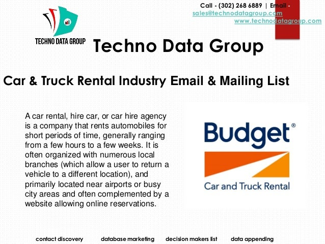 Car & Truck Rental Industry Email & Mailing List