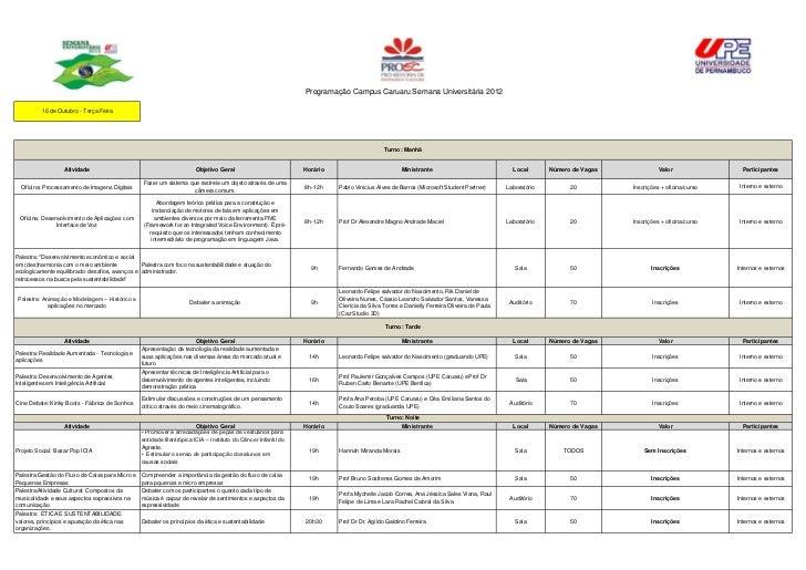Programação Campus Caruaru Semana Universitária 2012          16 de Outubro - Terça Feira                                 ...