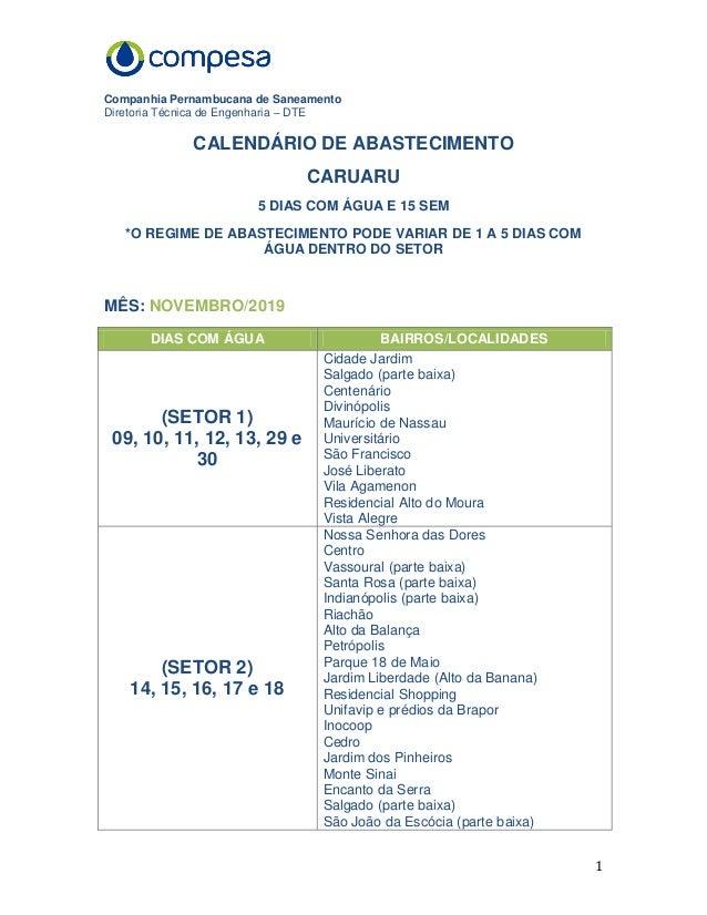 Companhia Pernambucana de Saneamento Diretoria Técnica de Engenharia – DTE 1 CALENDÁRIO DE ABASTECIMENTO CARUARU 5 DIAS CO...