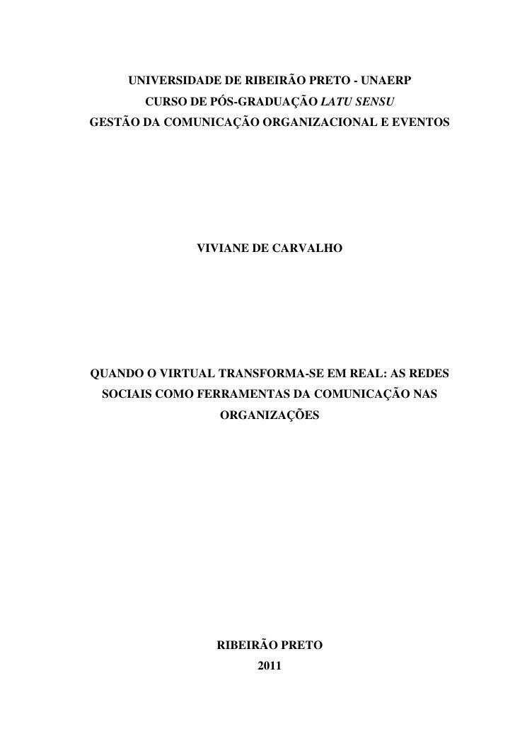 UNIVERSIDADE DE RIBEIRÃO PRETO - UNAERP       CURSO DE PÓS-GRADUAÇÃO LATU SENSUGESTÃO DA COMUNICAÇÃO ORGANIZACIONAL E EVEN...