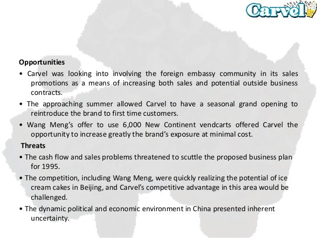 carvel china case analysis This case study is part of a larger international trade administration | industry & analysis 2016 top markets report automotive parts country case study china including the auto parts industry, as a pillar industry for many years and hybrid vehicles overview of the automotive parts.